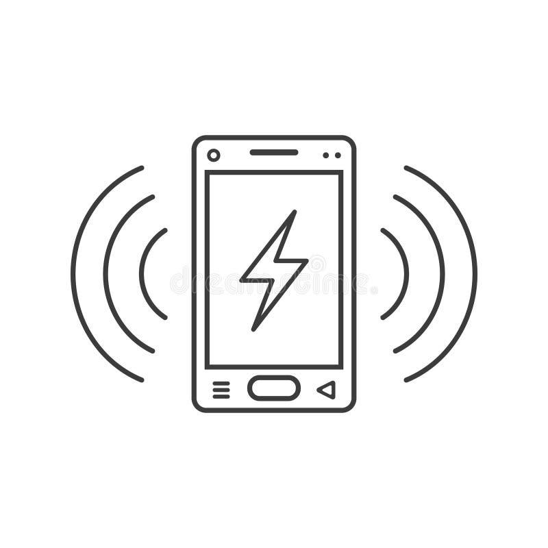 与闪电和信号的标志的线艺术敲响的智能手机象挥动.