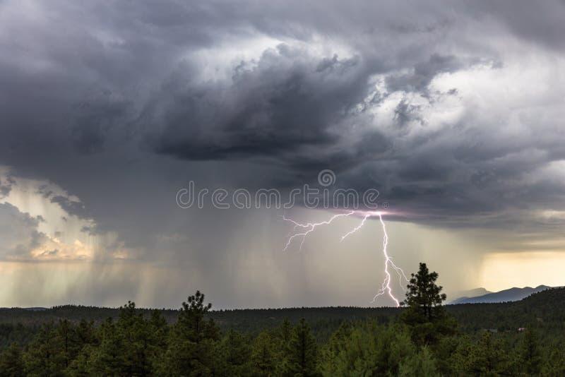 与闪电和雨的风雨如磐的天空 免版税库存照片