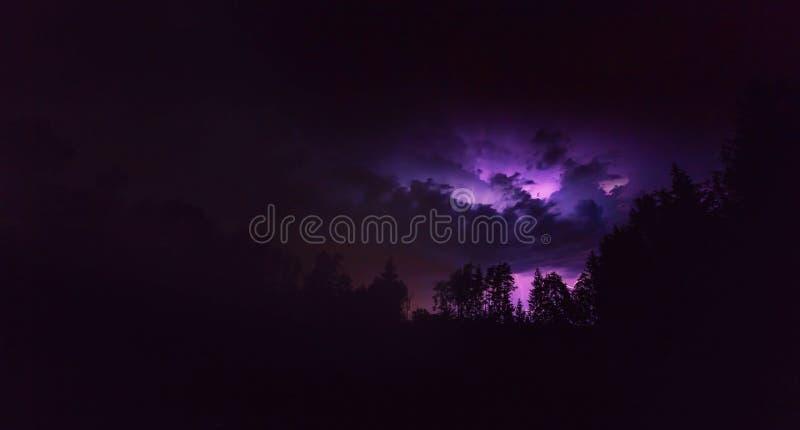 与闪电的风景在风雨如磐的晚上 免版税库存图片