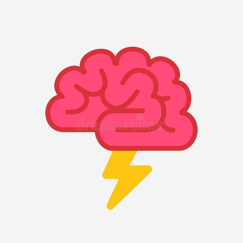 与闪电突发的灵感概念的脑子 向量例证