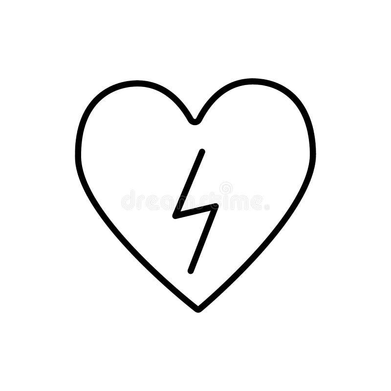 与闪电线象的心脏 与雷电在白色隔绝的传染媒介例证的心脏 去纤颤器概述 向量例证