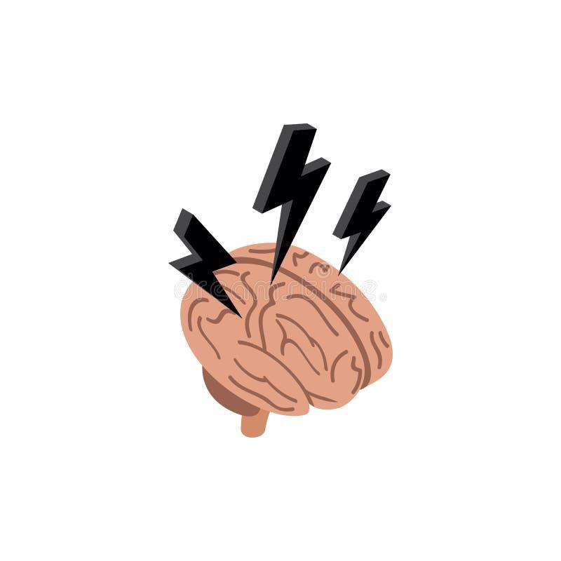 与闪电象的脑子,等量3d样式 皇族释放例证