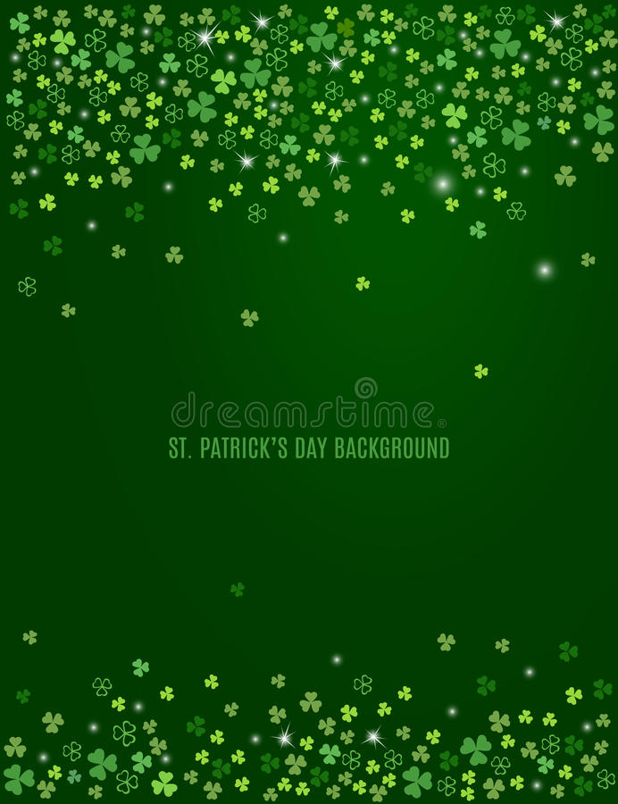 与闪耀三叶草三叶草的抽象圣帕特里克` s天背景离开 向量 向量例证