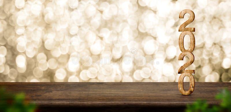与闪耀的星的新年快乐2020木头在棕色木桌上有金bokeh背景,假日欢乐庆祝概念 免版税图库摄影