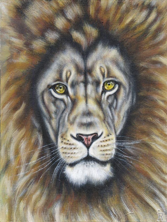 与闪耀的眼睛的狮子 向量例证