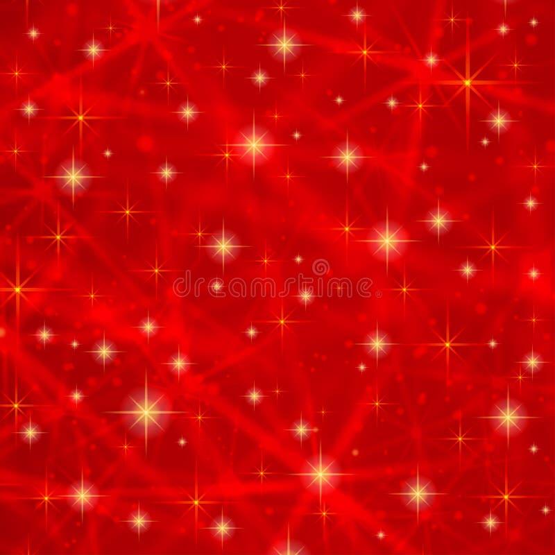 与闪耀的闪烁星的抽象红色背景 宇宙发光的星系(大气) 圣诞节的假日空白的纹理 皇族释放例证