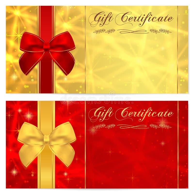 与闪耀的,闪光的星(纹理)和弓(红色丝带)的礼券,证件、优惠券、邀请或者礼品券模板 皇族释放例证