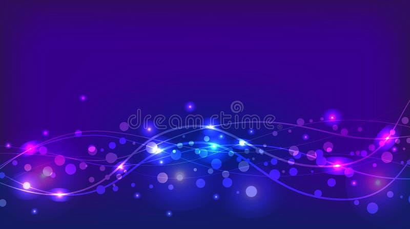 与闪闪发光和波浪的抽象紫罗兰色背景 向量例证