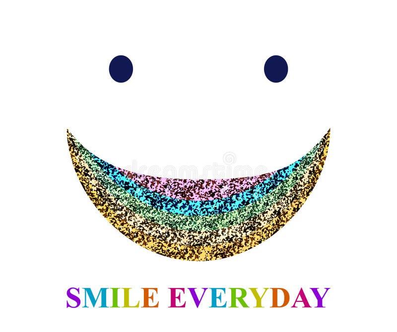 与闪闪发光和题字的彩虹微笑 皇族释放例证