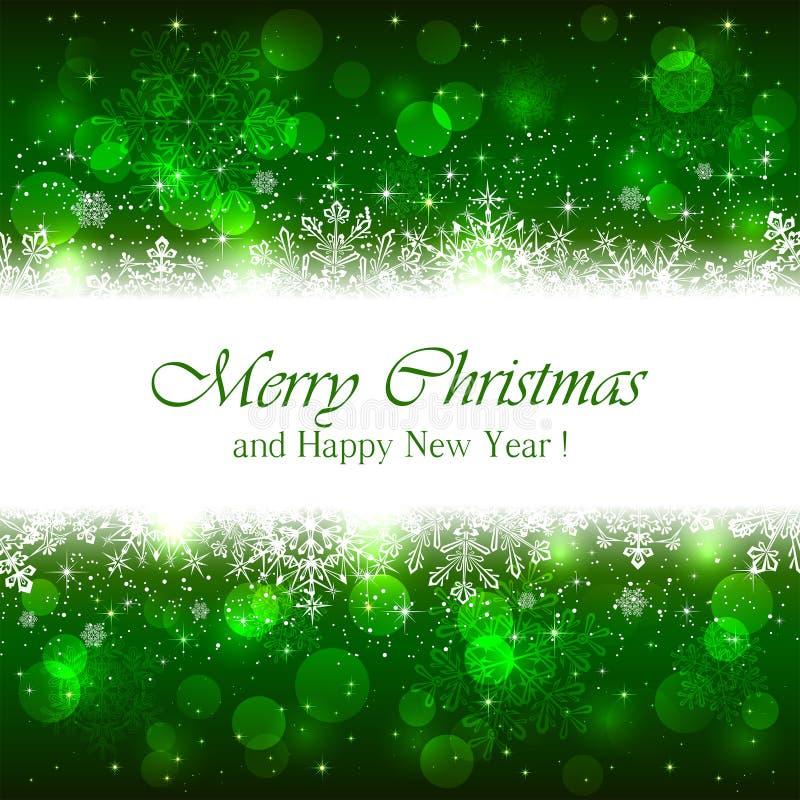 与闪闪发光星的绿色圣诞节背景 皇族释放例证