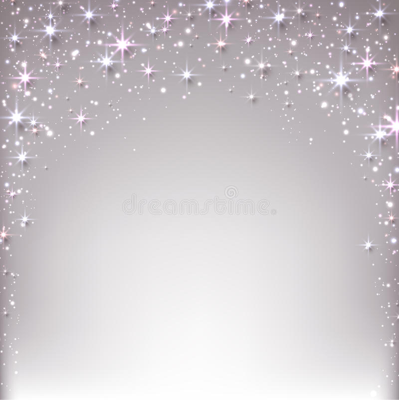 与闪闪发光的圣诞节满天星斗的背景。 向量例证