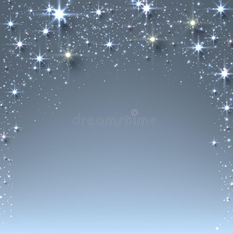 与闪闪发光的圣诞节满天星斗的背景。 皇族释放例证