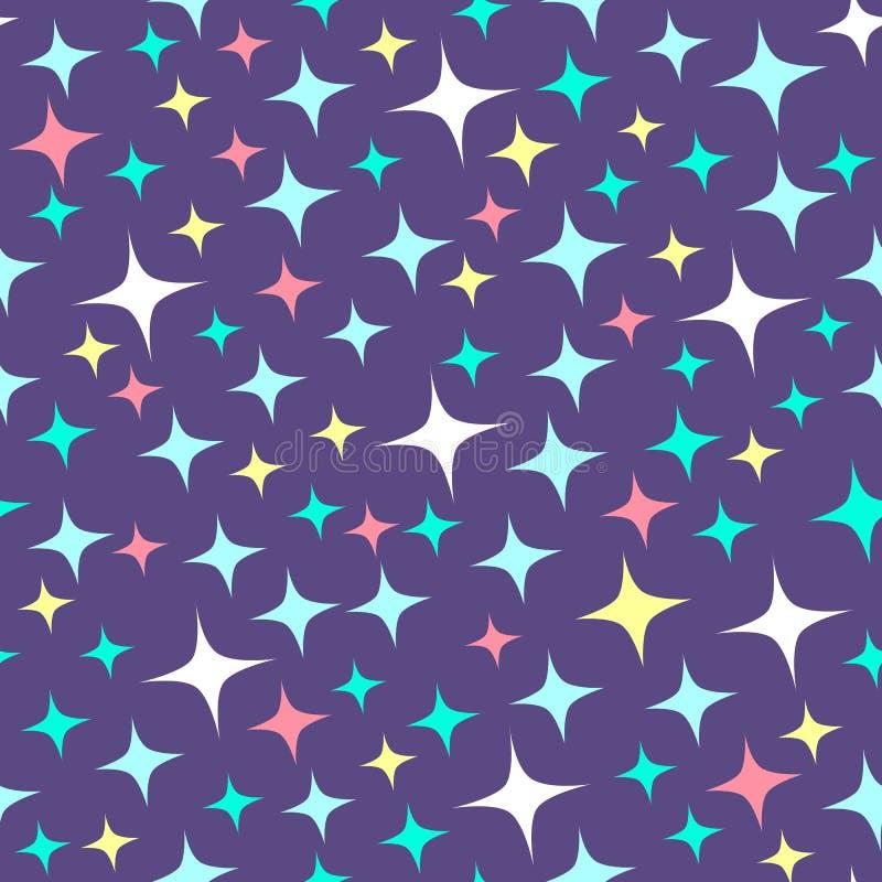 与闪闪发光的无缝的样式在紫色背景 动画片亮光背景 皇族释放例证