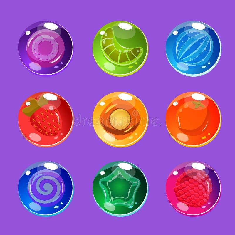 与闪闪发光的明亮的五颜六色的光滑的糖果为 皇族释放例证