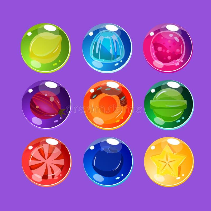 与闪闪发光的明亮的五颜六色的光滑的糖果 向量例证