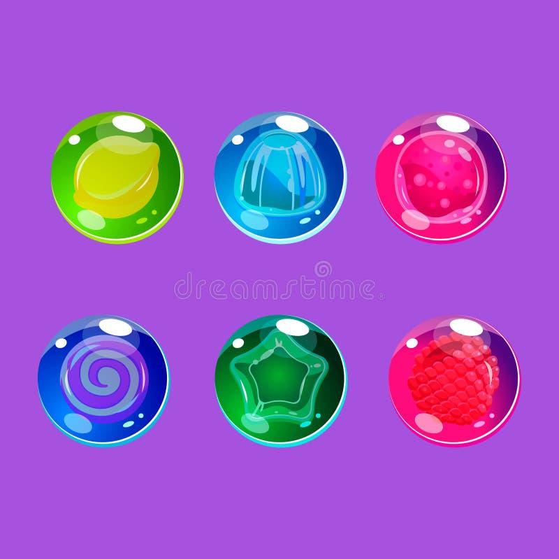 与闪闪发光的明亮的五颜六色的光滑的糖果 库存例证