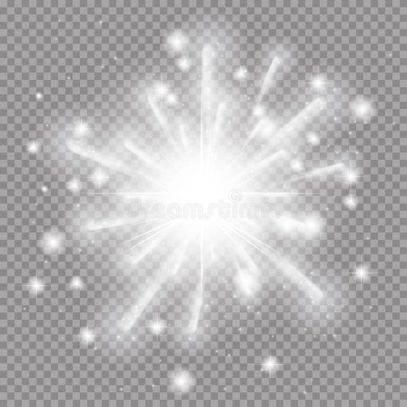 与闪闪发光的星爆炸 在透明Ba的传染媒介例证 库存例证
