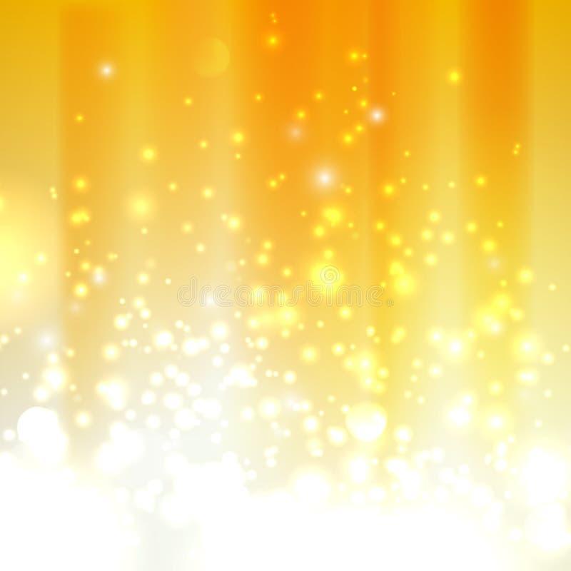 与闪闪发光的橙色背景 库存例证