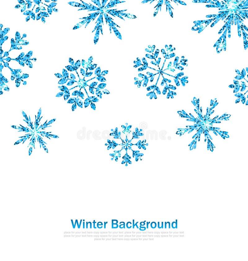 与闪闪发光雪花的冬天背景 库存例证