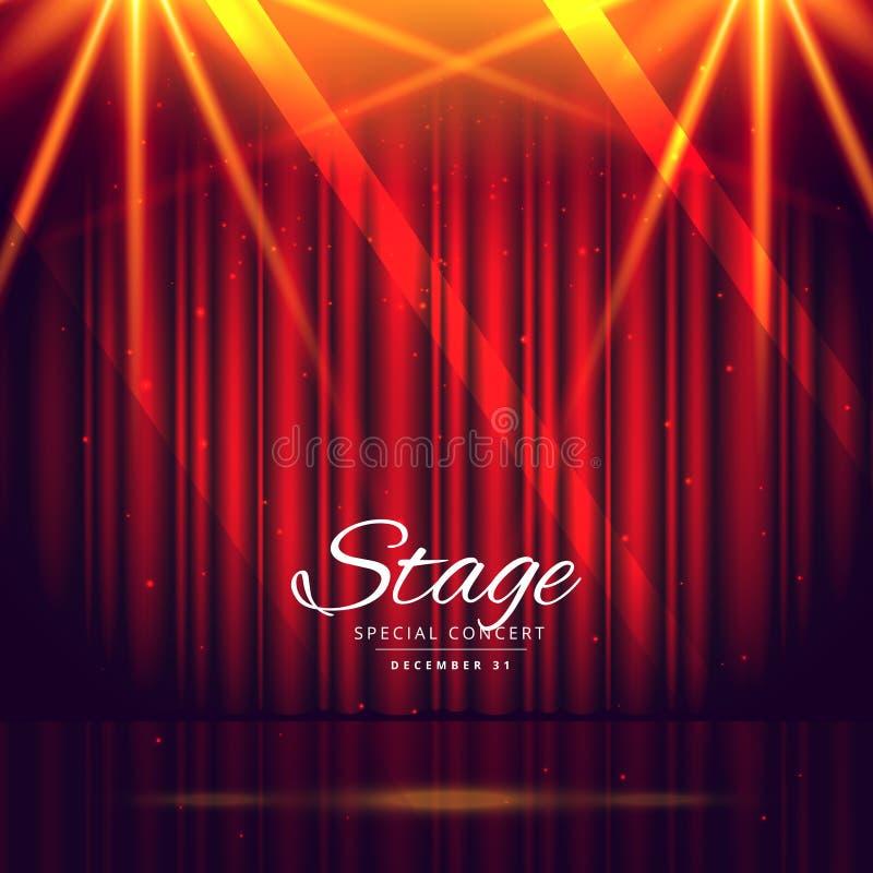 与闭合的帷幕的红色舞台背景 库存例证
