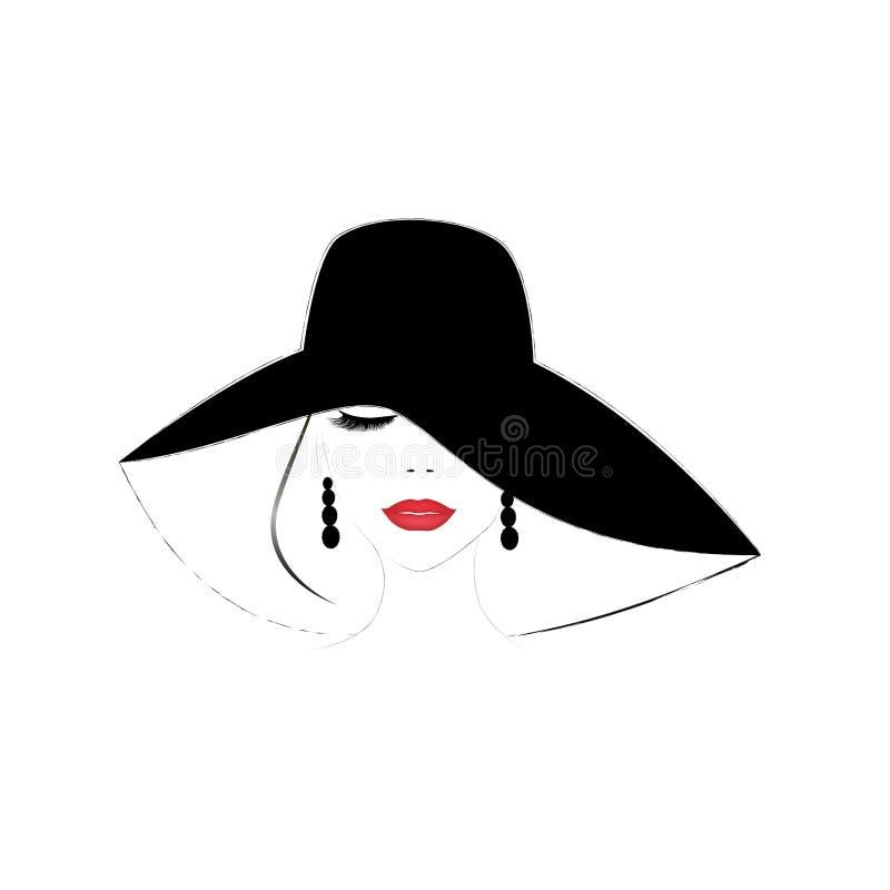 与闭合的眼睛和红色嘴唇的微笑的美女面孔在一个宽充满的帽子,传染媒介例证 皇族释放例证