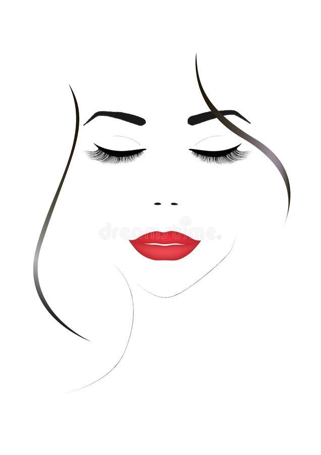 与闭合的眼睛和红色嘴唇,垂直的传染媒介的微笑的美丽的妇女面孔 向量例证
