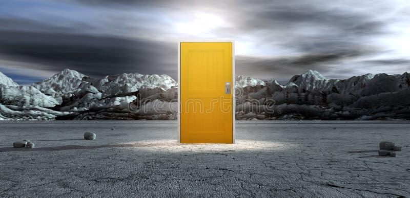 与闭合的黄色门的贫瘠Lanscape 库存例证