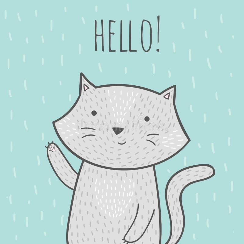 与问好的猫的逗人喜爱的手拉的乱画卡片 免版税库存照片