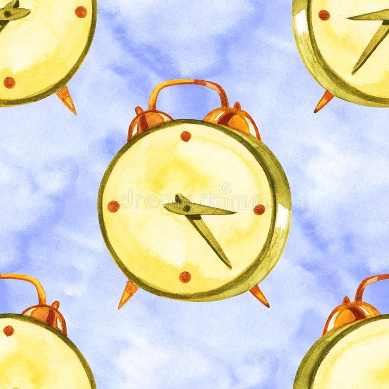 与闹钟的例证的水彩手拉的无缝的样式 葡萄酒幻想时钟摘要 免版税图库摄影
