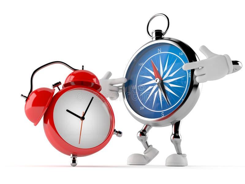 与闹钟的指南针字符 库存例证