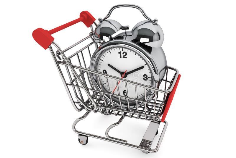 与闹钟的购物车 库存例证