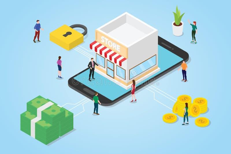 与队人人妇女的网络商店概念有在智能手机应用程序的企业创办的有等量或isometry 3d样式的- 库存例证