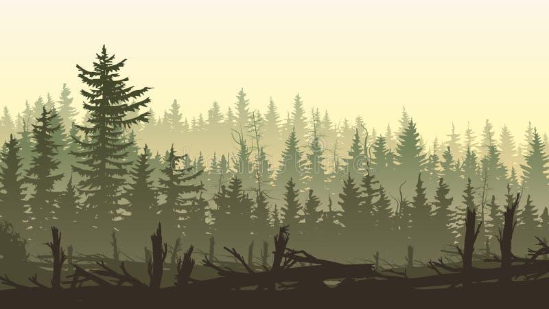 与防风林森林剪影的水平的例证  皇族释放例证