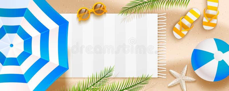 与阳伞、触发器、太阳镜、球、毛巾和棕榈叶的夏天海滩水平的横幅在沙子 皇族释放例证