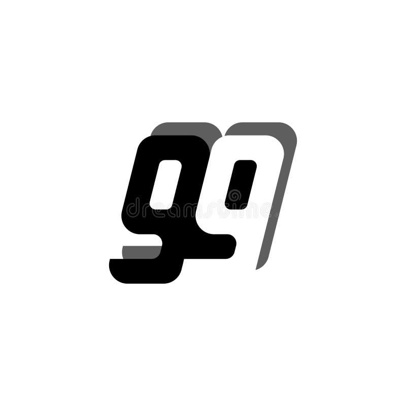 与阴影传染媒介创造性的现代设计模板的商标99数字黑色白色消极空间大胆的连接的标志偶然T恤杉的 皇族释放例证