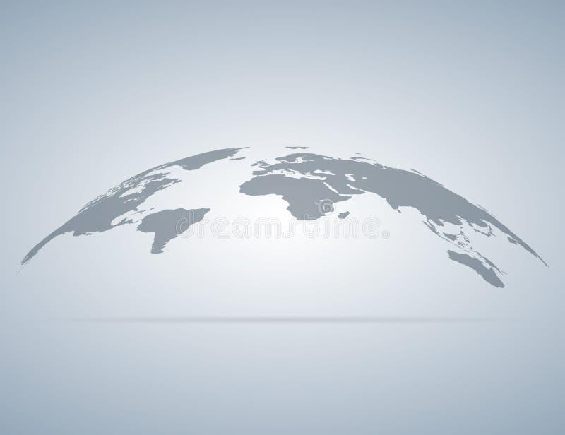 与阴影的世界地图地球 向量例证