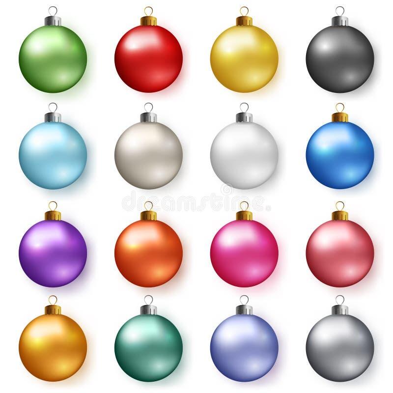 与阴影的五颜六色的光滑的圣诞节球 套现实装饰 向量例证