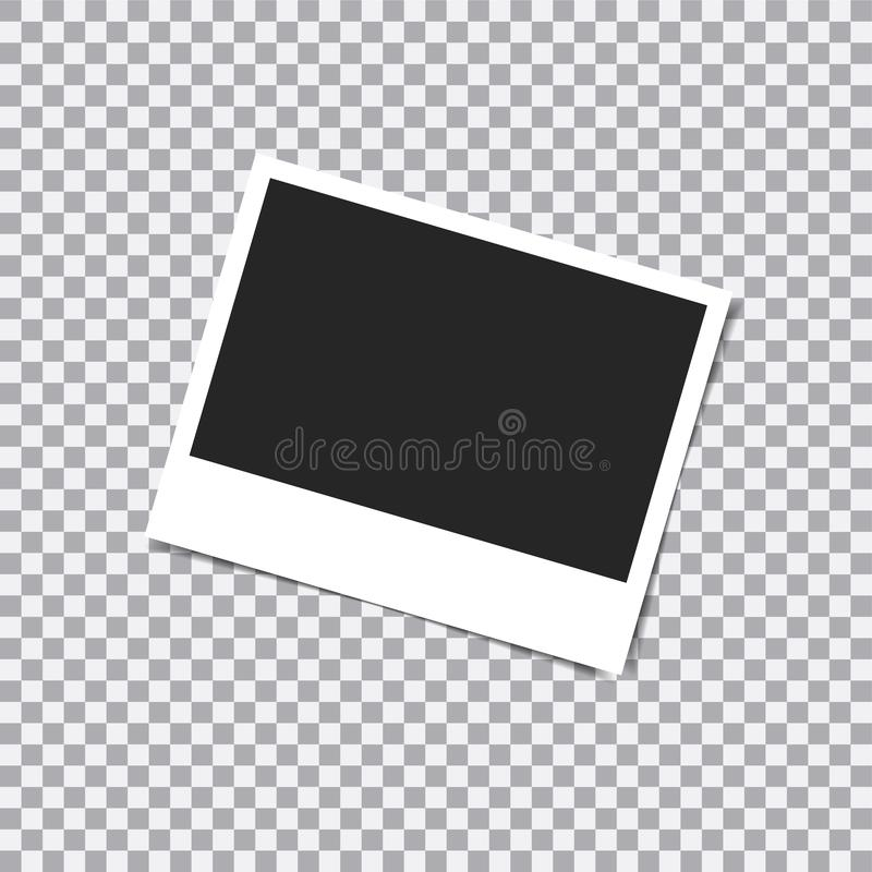 与阴影的减速火箭的照片框架在透明背景的稠粘的磁带别针 库存例证