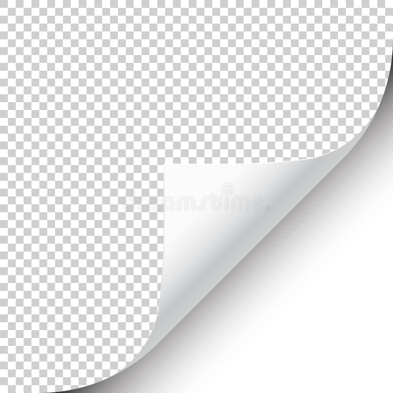 与阴影的卷曲的页角落在透明背景 r r 库存例证