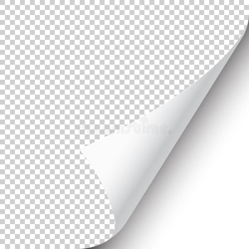 与阴影的卷曲的页角落在透明背景 r r 皇族释放例证