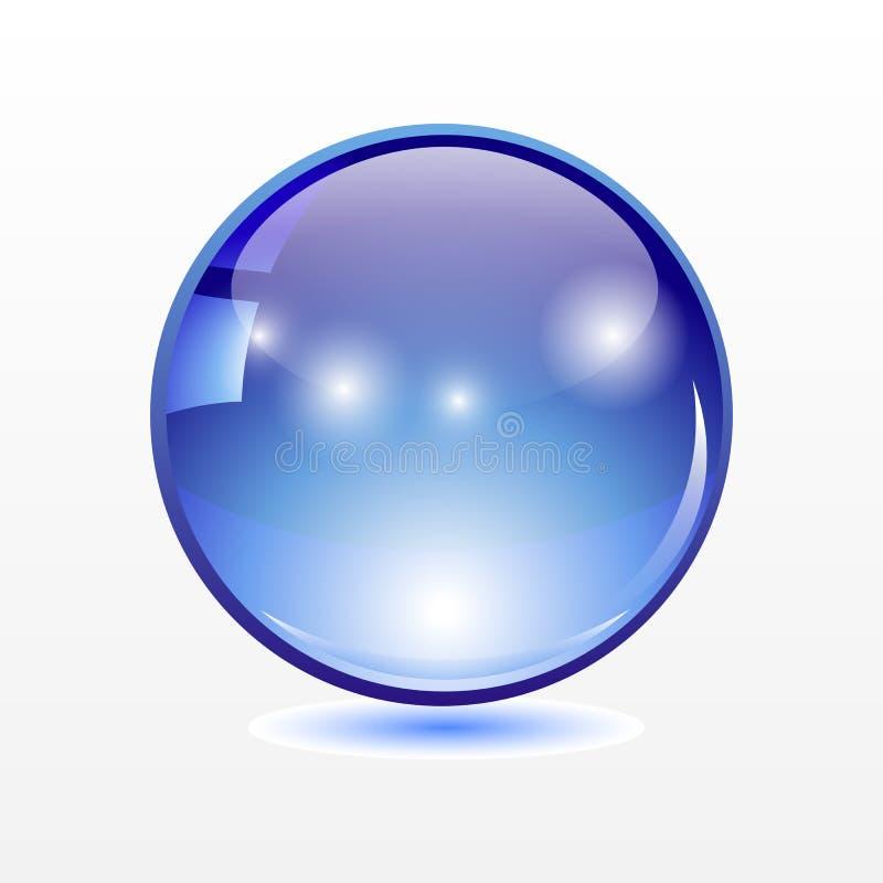 与阴影的大透亮蓝色球形在透明背景 皇族释放例证