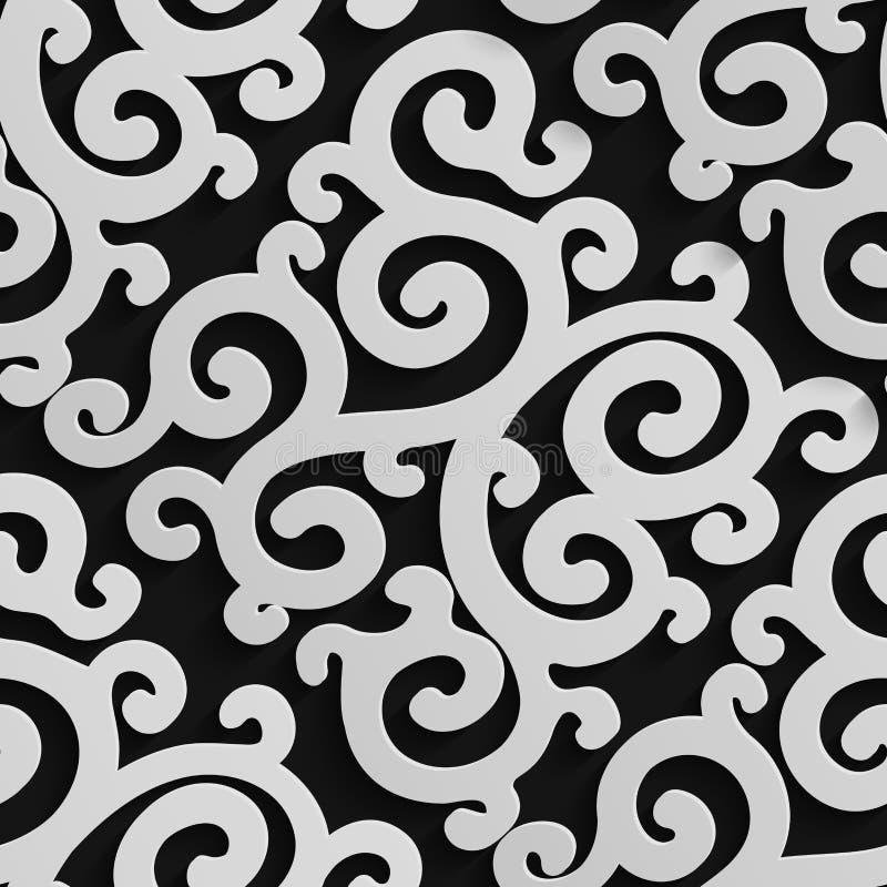 与阴影的无缝的锦缎样式 库存例证