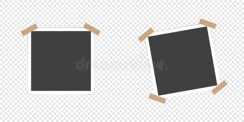 与阴影的照片框架 套照片框架 在透明背景的被隔绝的对象 也corel凹道例证向量 向量例证