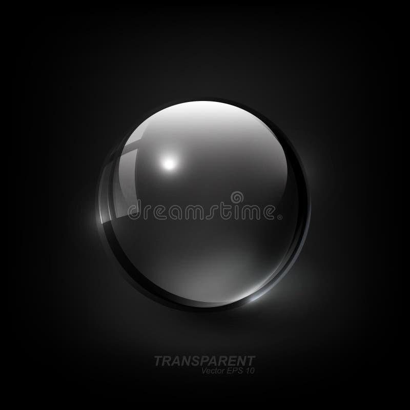 与阴影的现代发光的透明玻璃球形在深黑色背景,传染媒介例证 向量例证