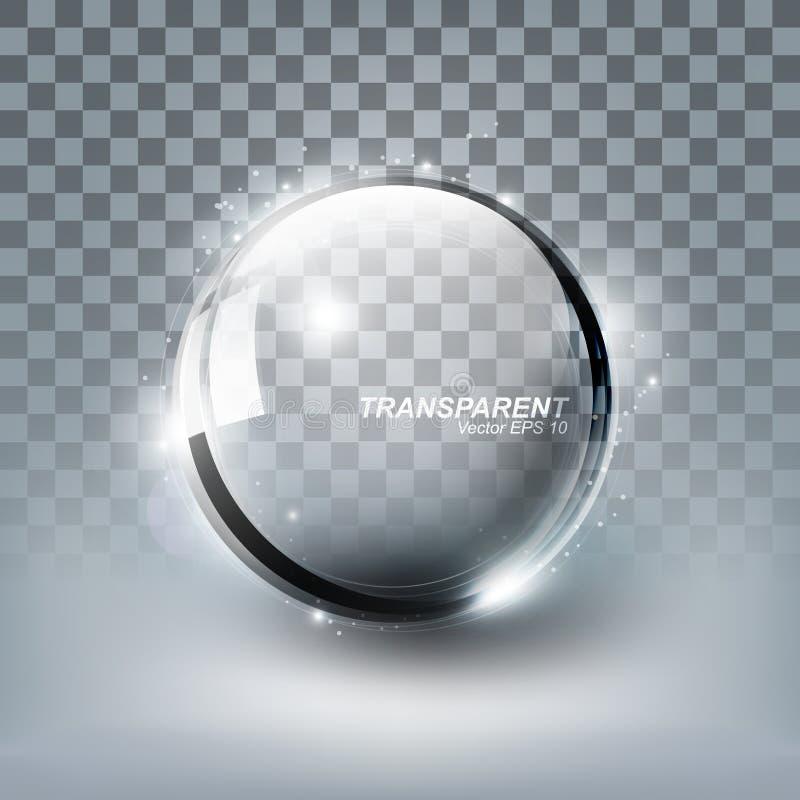与阴影的现代发光的透明玻璃球形在白色背景,传染媒介例证 皇族释放例证