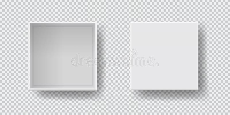 与阴影的箱子集合顶视图,假装式样3D 皇族释放例证