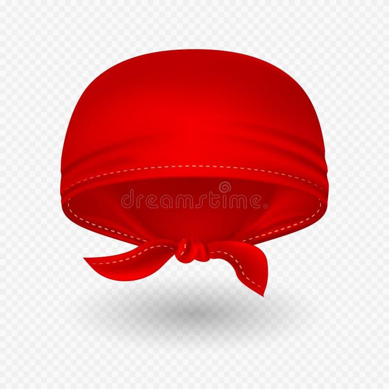 与阴影的红色现实顶头班丹纳花绸传染媒介例证 向量例证