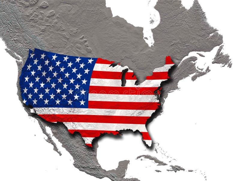 与阴影的美国旗子在北美洲大陆上 库存例证