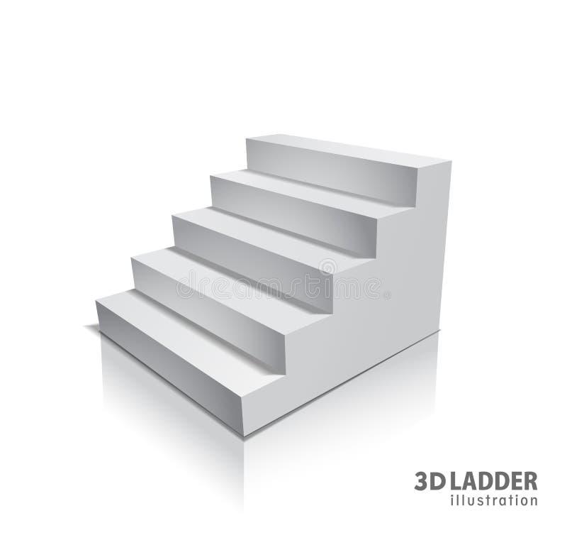 与阴影的设计元素白色台阶现实例证设计在透明背景 3D在隔绝的立场 皇族释放例证