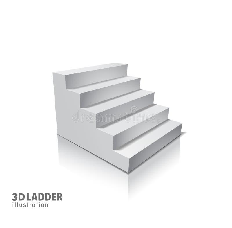 与阴影的设计元素白色台阶现实例证设计在透明背景 3D在隔绝的立场 库存例证